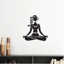 Yoga Girl Keep Healthy Cross Legged Sports Silhouette Silhouette  Removable Wall Sticker Art Decals Mural DIY Wallpaper for Room Decal