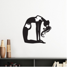 Graceful Yoga Girl Stretching Keep Healthy Sports Silhouette Silhouette  Removable Wall Sticker Art Decals Mural DIY Wallpaper for Room Decal