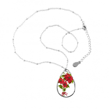 mas Flower Poinsettia Bouquet Red Ribbon Teardrop Shape Pendant Necklace Jewelry With Chain Decoration Gift