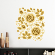 Yellow Golden Classic Floral Pattern Flowers Removable Wall Sticker Art Decals Mural DIY Wallpaper for Room Decal