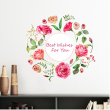 Red Roses Bush Pattern Flowers Plants Best Wish Removable Wall Sticker Art Decals Mural DIY Wallpaper for Room Decal