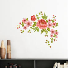Red Roses Pattern Flowers Plants Rose Bush Removable Wall Sticker Art Decals Mural DIY Wallpaper for Room Decal