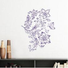 Lilac Decorative Classic Pattern Flowers Butterfly Removable Wall Sticker Art Decals Mural DIY Wallpaper for Room Decal