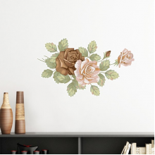 Rose Flowers Leaves Drawing White Roses Removable Wall Sticker Art Decals Mural DIY Wallpaper for Room Decal