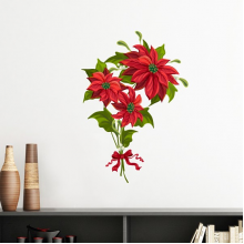 Christmas Flower Poinsettia Bouquet Red Ribbon Removable Wall Sticker Art Decals Mural DIY Wallpaper for Room Decal