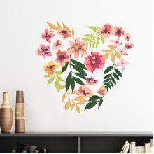Flowers Leaves Drawing Watercolor Heart Wish Removable Wall Sticker Art Decals Mural DIY Wallpaper for Room Decal