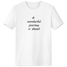A Wenderful Journey Is Ahead Inspirational Quote Sayings Crew-Neck White T-shirt Spring and Summer Tagless Comfort Cotton Sports T-shirts Gift