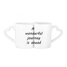 A Wenderful Journey Is Ahead Inspirational Quote Sayings Lovers' Mug Lover Mugs Set White Pottery Ceramic Cup Gift Milk Coffee Cup with Handles