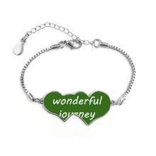 A Wenderful Journey Is Ahead Inspirational Quote Sayings Double Hearts Shape Round-Cut Cubic Chain Bracelet Love Gifts