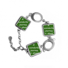A Wenderful Journey Is Ahead Inspirational Quote Sayings Square Shape Metal Bracelet Love Gifts Jewelry With Chain Decoration