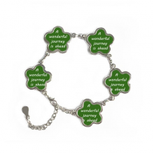 A Wenderful Journey Is Ahead Inspirational Quote Sayings Flower Shape Metal Bracelet Chain Gifts Jewelry With Chain Decoration