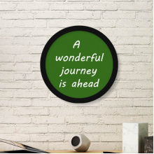 A Wenderful Journey Is Ahead Inspirational Quote Sayings Round Simple Picture Frame Art Prints of Paintings Home Wall Decal