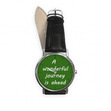 A Wenderful Journey Is Ahead Inspirational Quote Sayings Quartz Analog Wrist Business Casual Watch with Stainless Steel Case Gift