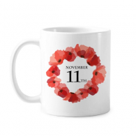 Art Painting Corn Poppy Garland Remembrance Day UK Classic Mug White Pottery Ceramic Cup Gift Milk Coffee With Handles 350 ml