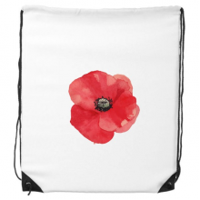 Watercolour Red Flower Painting Corn Poppy Drawstring Backpack Shopping Sports Bags Gift