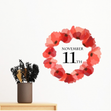 Art Painting Corn Poppy Garland Remembrance Day UK Removable Wall Sticker Art Decals Mural DIY Wallpaper for Room Decal