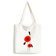 Abstract Red Circle Flowers Art Painting Corn Poppy Fashionable Design High Quality Canvas Bag Environmentally Tote Large Gift Capacity Shopping Bags
