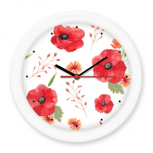 Art Painting Watercolour Flowers Decoration Corn Poppy Ears Silent Non-ticking Round Wall Decorative Clock Battery-operated Clocks Gift Home Decal