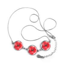 Watercolour Red Flower Painting Corn Poppy Round Shape Pendant Necklace Jewelry With Chain Decoration Gift