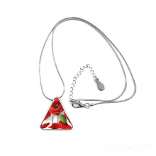 Red Flowers Painting Corn Poppy Petals Fruit Triangle Shape Pendant Necklace Jewelry With Chain Decoration Gift