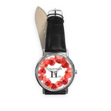 Art Painting Corn Poppy Garland Remembrance Day UK Quartz Analog Wrist Business Casual Watch with Stainless Steel Case Gift