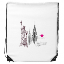 I Love New York Statue Of Liberty America Country City Drawstring Backpack Shopping Sports Bags Gift