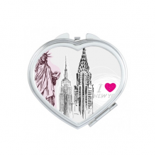 I Love New York Statue Of Liberty America Country City Heart Compact Makeup Pocket Mirror Portable Cute Small Hand Mirrors Gift