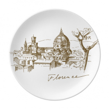 Florence Cathedral Italy Florence Landmark Pattern Decorative Porcelain Dessert Plate 8 inch Home Decal Gift