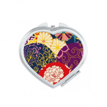Flowers Dots Pattern Chinese Japanese Style Asia Heart Compact Makeup Pocket Mirror Portable Cute Small Hand Mirrors Gift
