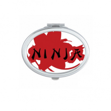 Japan Ninja Words Sakura Outline Oval Compact Makeup Pocket Mirror Portable Cute Small Hand Mirrors Gift