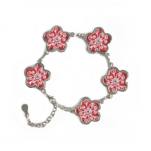 Red Wine Color Flowers Mexico Totems Ancient Civilization Drawing Flower Shape Metal Bracelet Chain Gifts Jewelry With Chain Decoration