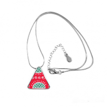 Pineapple Pattern Mexico Totems Ancient Civilization Drawing Triangle Shape Pendant Necklace Jewelry With Chain Decoration Gift