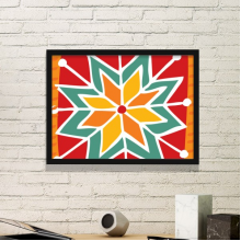 Sun Flower Mexico Totems Ancient Civilization Drawing Simple Picture Frame Art Prints Paintings Home Wall Decal Gift