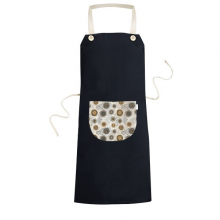 Abstract Flowers Yellow Black Petals Spots Cooking Kitchen Black Bib Aprons With Pocket for Women Men Chef Gifts
