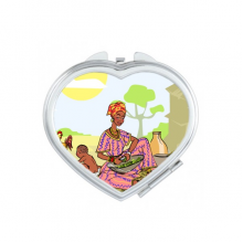 Women LadyChild Totems African Aboriginal Heart Compact Makeup Pocket Mirror Portable Cute Small Hand Mirrors Gift