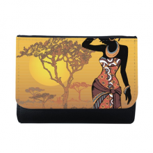 African Savanna Black Women Aboriginal Dresses Multi-Function Faux Leather Wallet Card Purse Gift