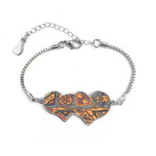 Africa Aboriginal Style Tribal Collage Drawing Double Hearts Shape Round-Cut Cubic Chain Bracelet Love Gifts