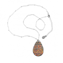 Africa Aboriginal Style Tribal Collage Drawing Teardrop Shape Pendant Necklace Jewelry With Chain Decoration Gift