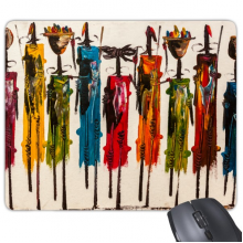Abstract Art African Primitive Aboriginal Black Warrior Rectangle Non-Slip Rubber Mousepad Game Mouse Pad Gift
