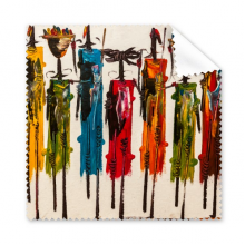 Abstract Art African Primitive Aboriginal Black Warrior Glasses Cloth Cleaning Cloth Gift Phone Screen Cleaner 5pcs