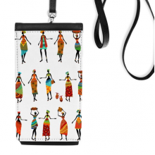 Black Women Totems African Dresses Faux Leather Smartphone Hanging Purse Black Phone Wallet Gift