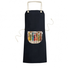 Abstract Art African Primitive Aboriginal Black Warrior Cooking Kitchen Black Bib Aprons With Pocket for Women Men Chef Gifts