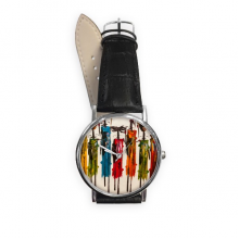 Abstract Art African Primitive Aboriginal Black Warrior Quartz Analog Wrist Business Casual Watch with Stainless Steel Case Gift