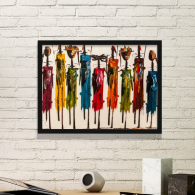 Abstract Art African Primitive Aboriginal Black Warrior Simple Picture Frame Art Prints Paintings Home Wall Decal Gift