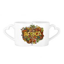 African Aboriginal Art Pattern Tribal Lovers' Mug Lover Mugs Set White Pottery Ceramic Cup Gift with Handles