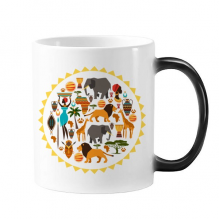 Africa Wild Animals Wildlife African Savanna Lion Morphing Heat Sensitive Changing Color Mug Cup Gift Milk Coffee With Handles 350 ml