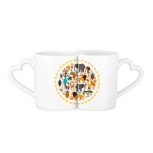 Africa Wild Animals Wildlife African Savanna Lion Lovers' Mug Lover Mugs Set White Pottery Ceramic Cup Gift with Handles