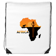 Africa Map Savanna Elephant Wildlife Black Women Drawstring Backpack Shopping Handbag Gift Sports Bags