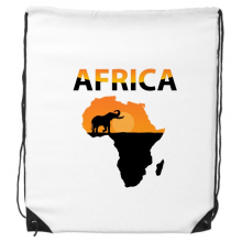 Africa Map Savanna Elephant Wildlife Drawstring Backpack Shopping Handbag Gift Sports Bags