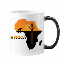 Africa Map Savanna Elephant Wildlife Black Women Morphing Heat Sensitive Changing Color Mug Cup Gift Milk Coffee With Handles 350 ml